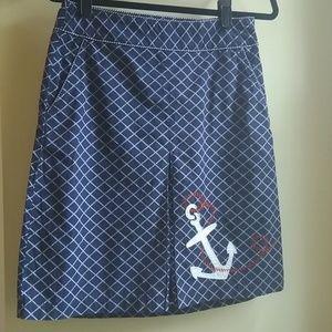 LL Bean Navy Anchor Print Prep Skirt Size 4
